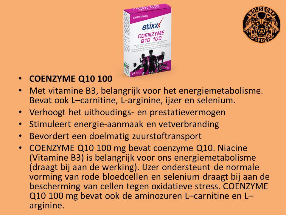 COENZYME Q10 100 Met vitamine B3, belangrijk voor het energiemetabolisme. Bevat ook L–carnitine, L-arginine, ijzer en selenium.