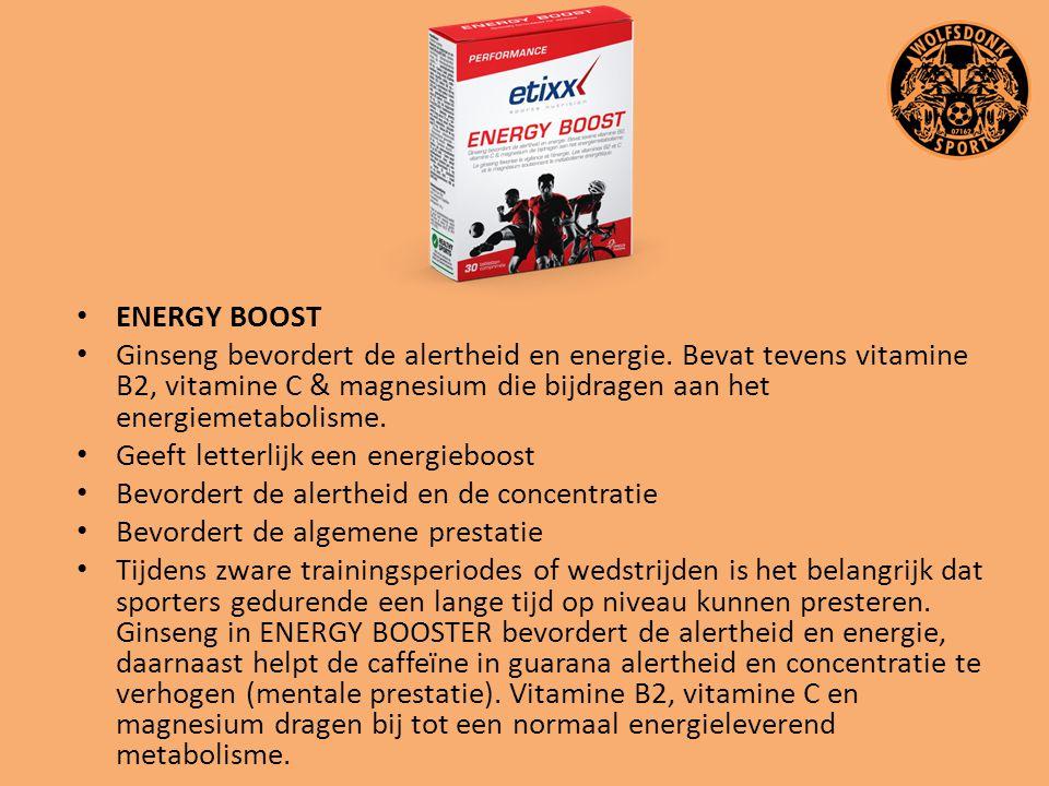 ENERGY BOOST Ginseng bevordert de alertheid en energie. Bevat tevens vitamine B2, vitamine C & magnesium die bijdragen aan het energiemetabolisme.