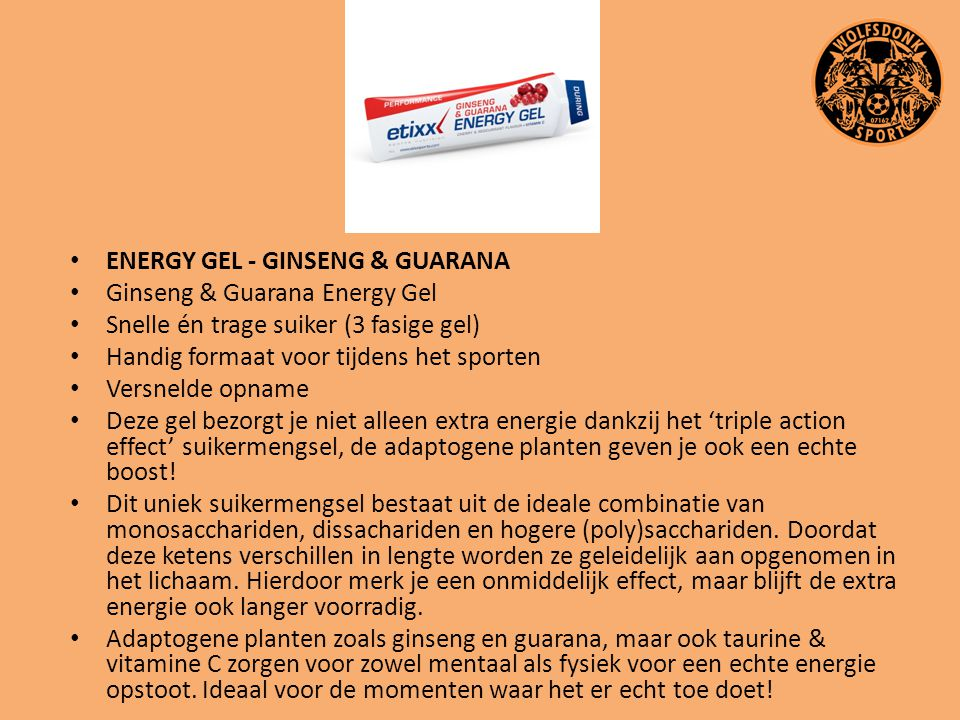 ENERGY GEL - GINSENG & GUARANA
