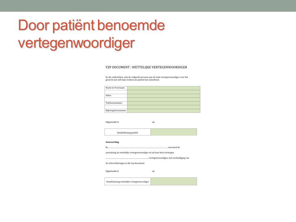 Door patiënt benoemde vertegenwoordiger