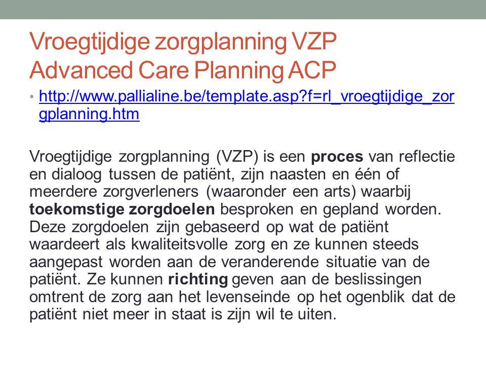 Vroegtijdige zorgplanning VZP Advanced Care Planning ACP