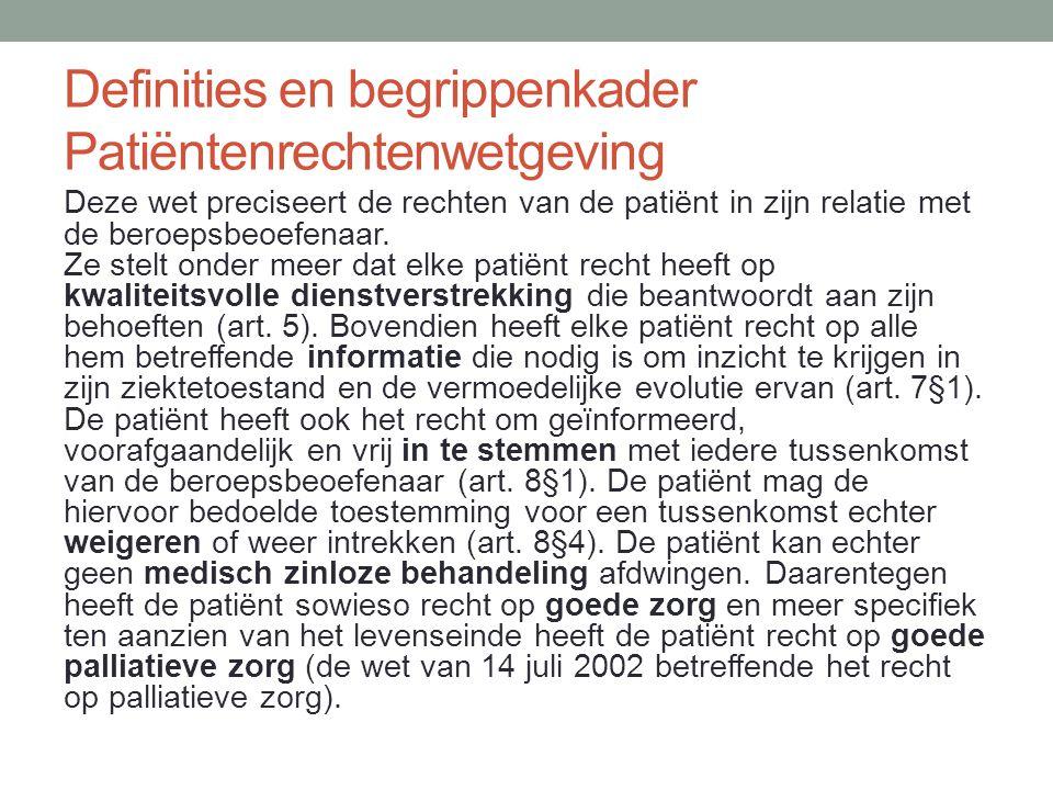Definities en begrippenkader Patiëntenrechtenwetgeving