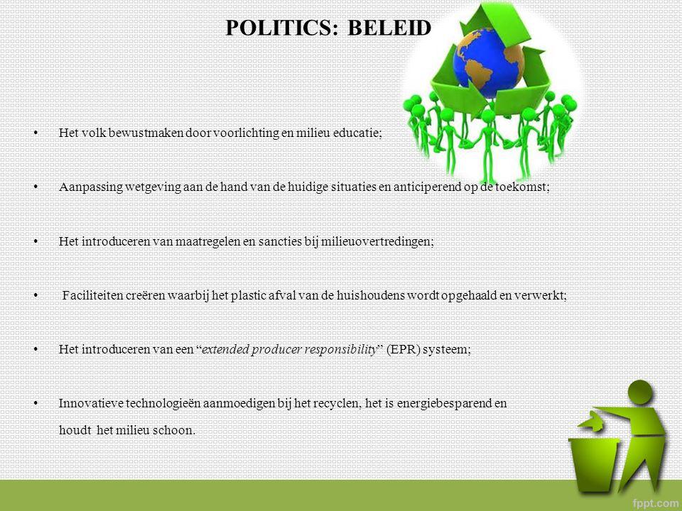 POLITICS: BELEID Het volk bewustmaken door voorlichting en milieu educatie;