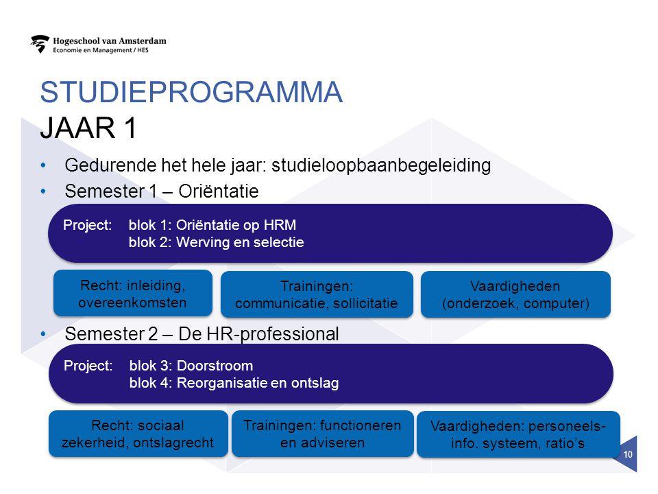 Studieprogramma Jaar 1 Gedurende het hele jaar: studieloopbaanbegeleiding. Semester 1 – Oriëntatie.