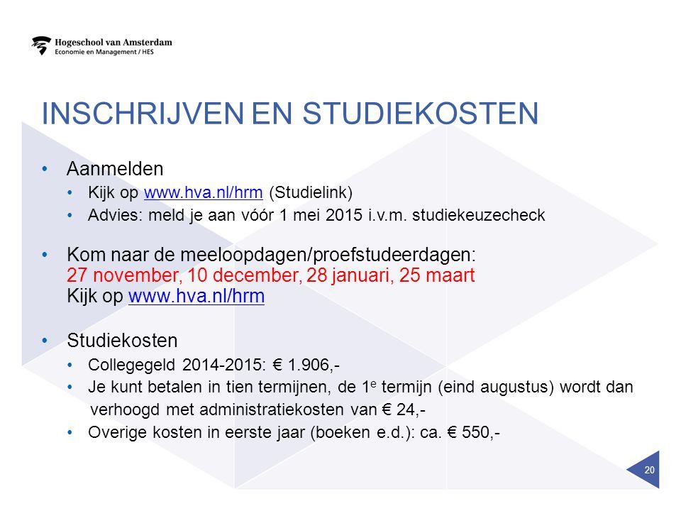 Inschrijven EN STUDIEKOSTEN