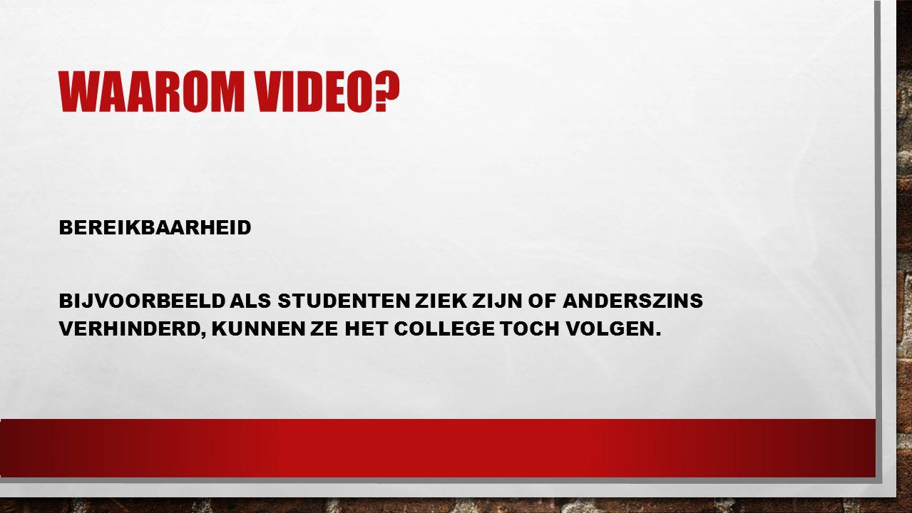 Waarom video.