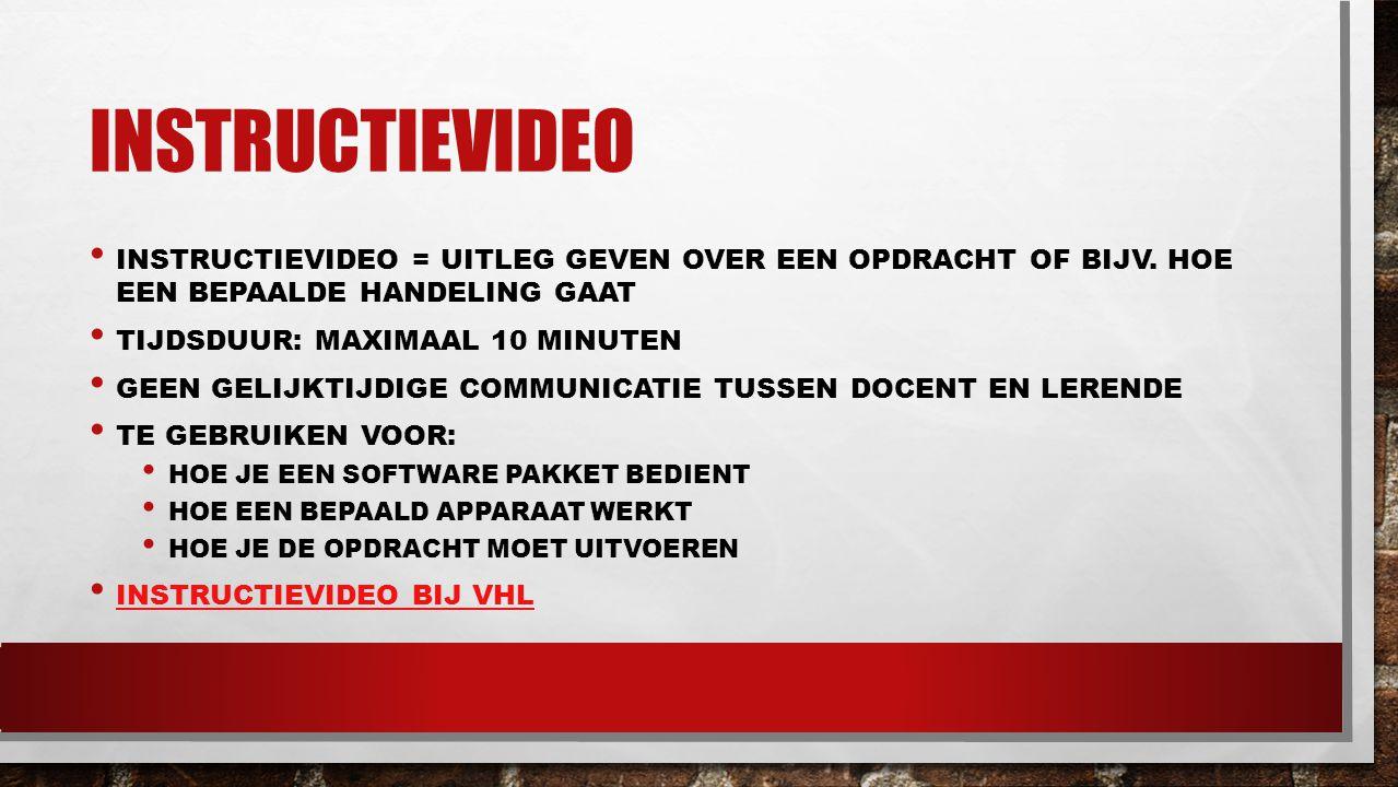 instructievideo instructievideo = uitleg geven over een opdracht of bijv. Hoe een bepaalde handeling gaat.