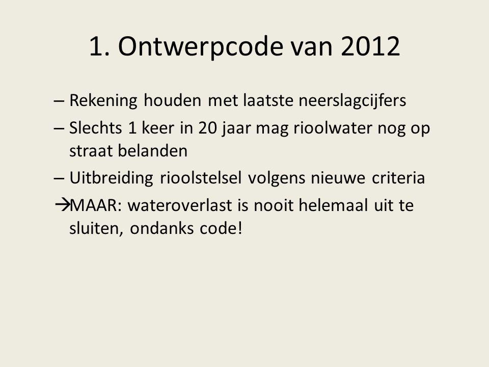 1. Ontwerpcode van 2012 Rekening houden met laatste neerslagcijfers