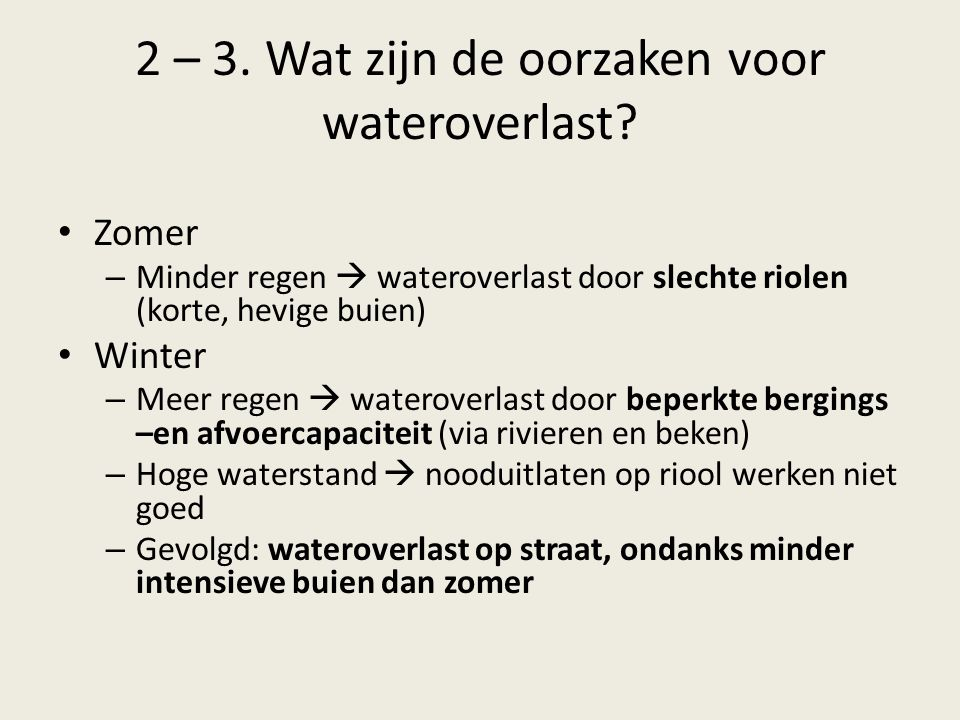 2 – 3. Wat zijn de oorzaken voor wateroverlast