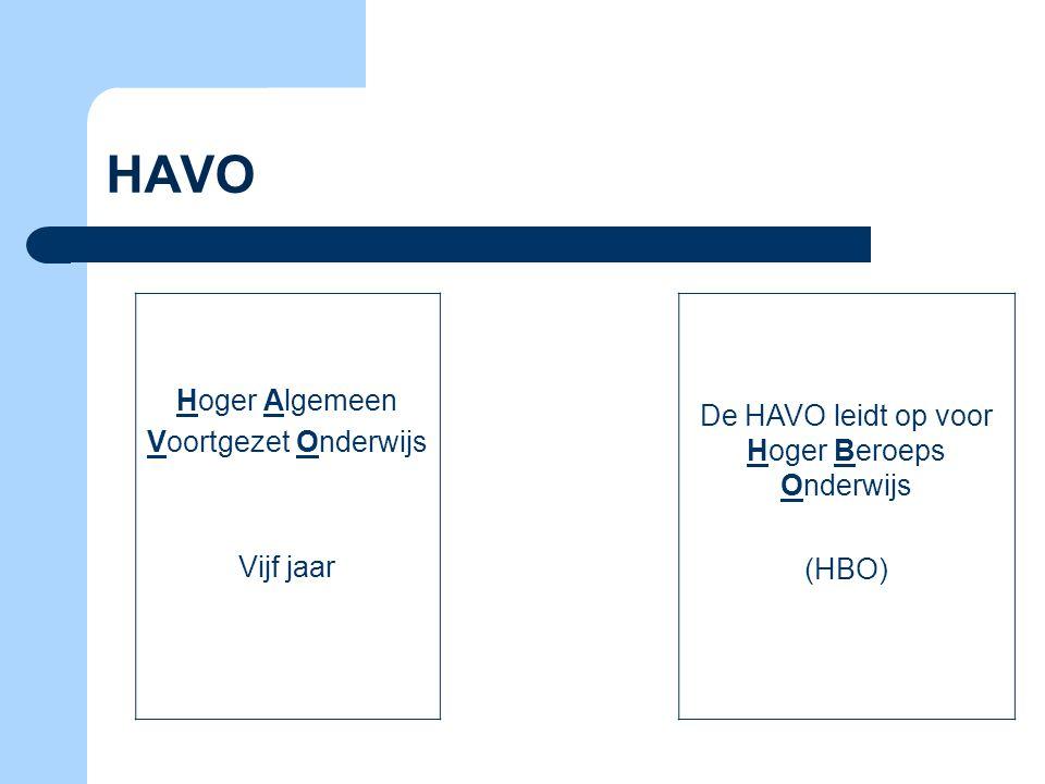 De HAVO leidt op voor Hoger Beroeps Onderwijs