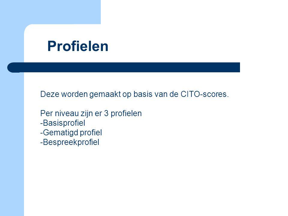 Profielen Deze worden gemaakt op basis van de CITO-scores.