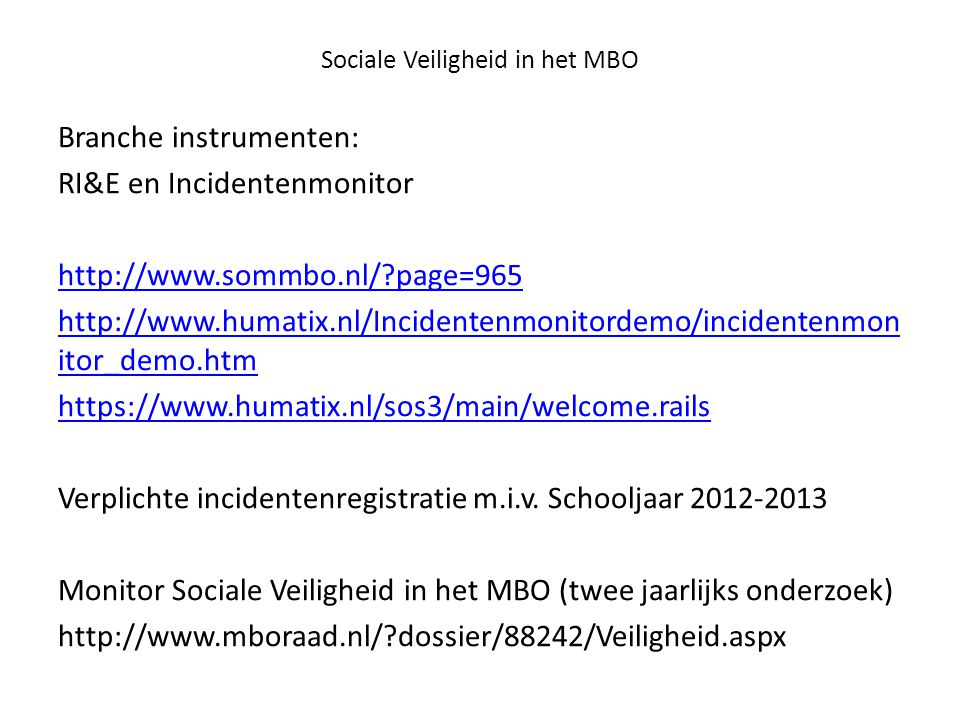Sociale Veiligheid in het MBO