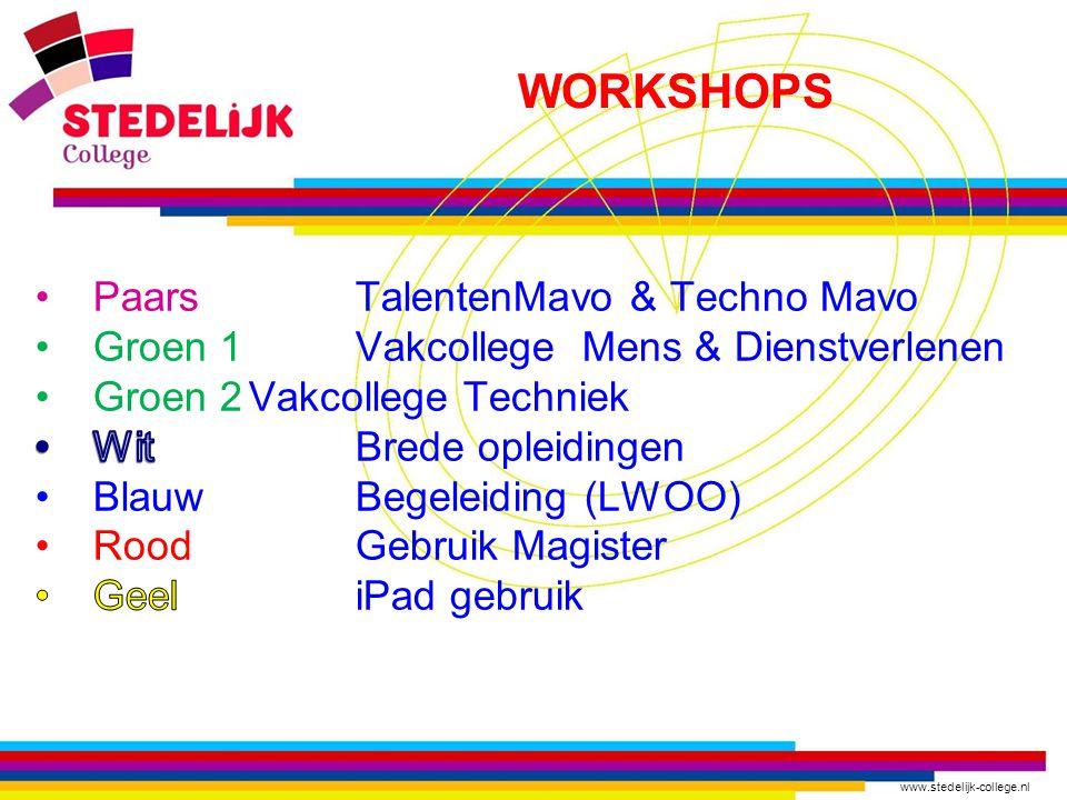 WORKSHOPS Paars TalentenMavo & Techno Mavo