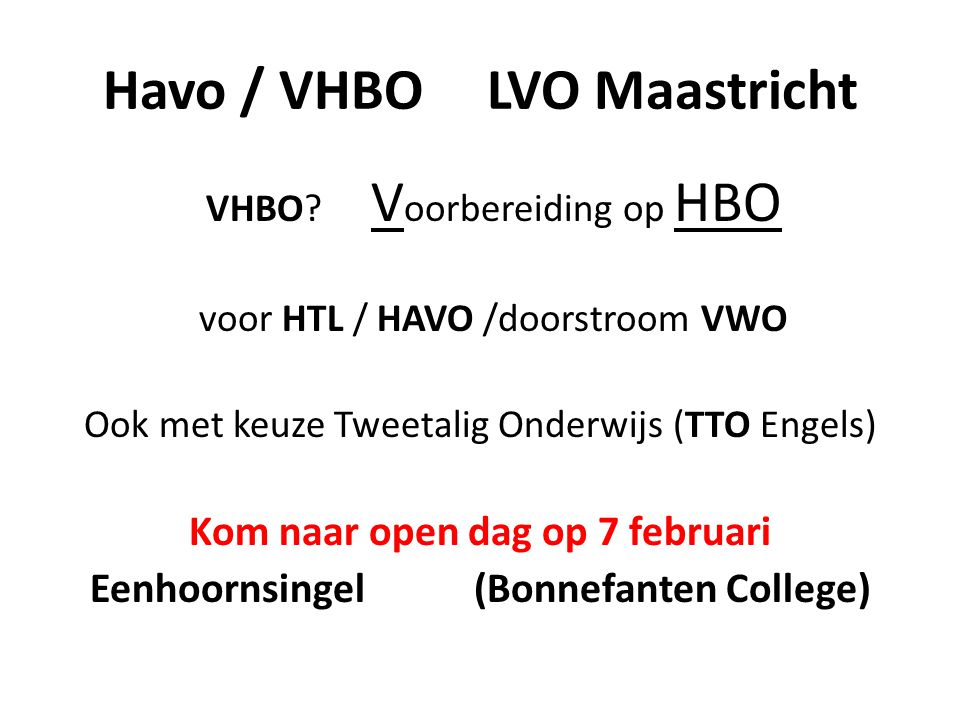 Havo / VHBO LVO Maastricht