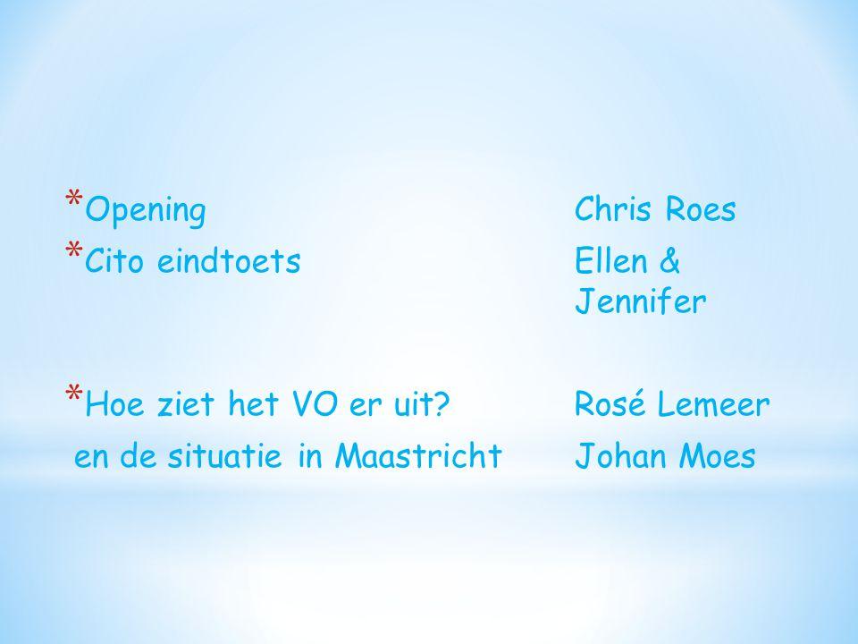 Opening Chris Roes Cito eindtoets Ellen & Jennifer. Hoe ziet het VO er uit Rosé Lemeer.