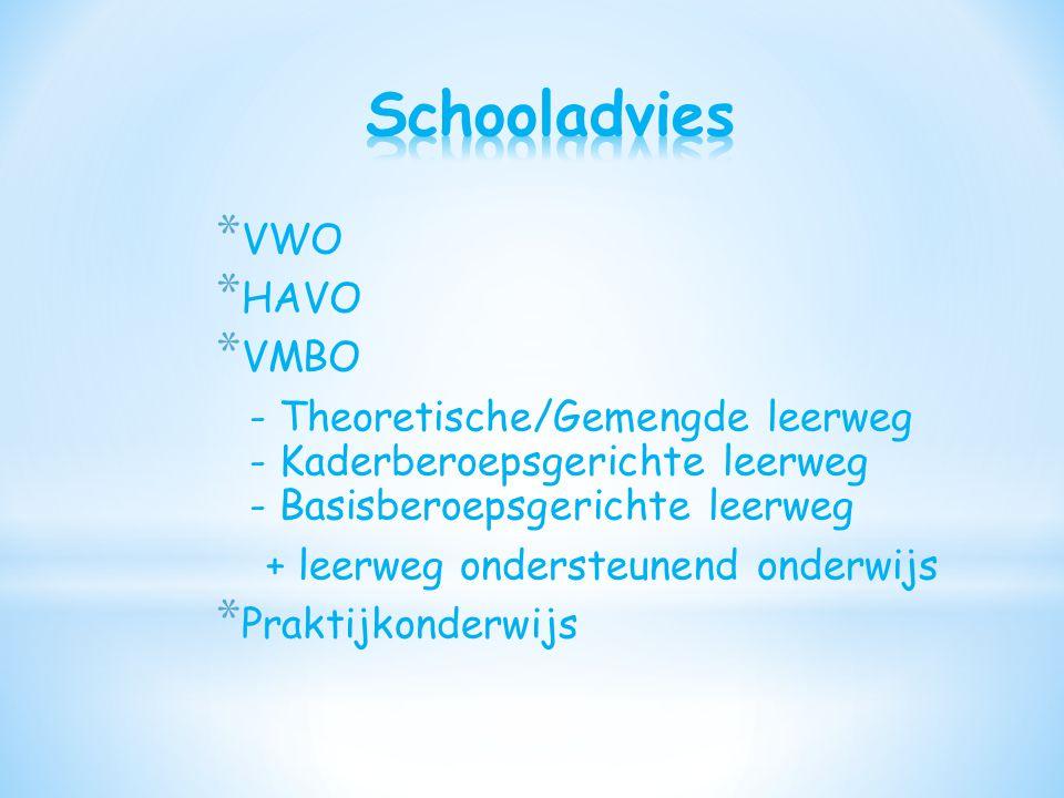 Schooladvies VWO HAVO VMBO