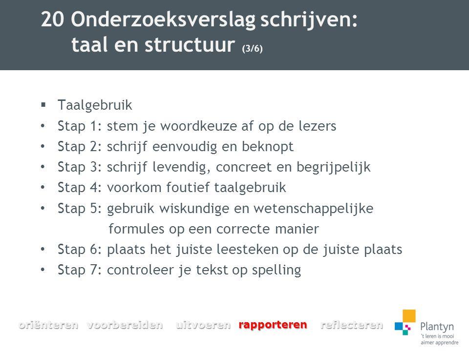 20 Onderzoeksverslag schrijven: taal en structuur (3/6)