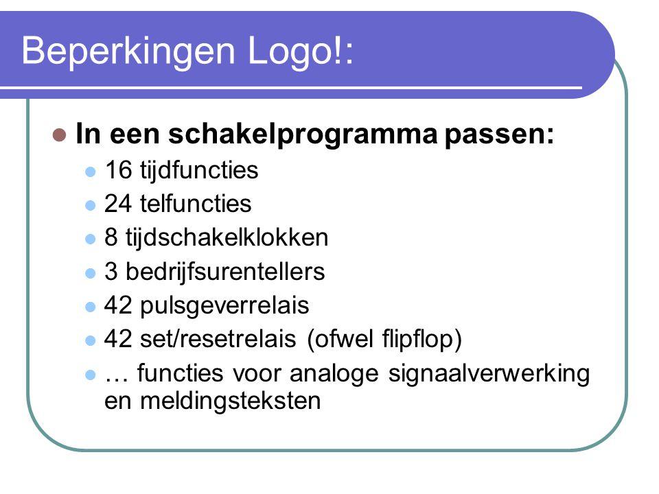 Beperkingen Logo!: In een schakelprogramma passen: 16 tijdfuncties