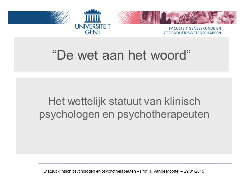 Het wettelijk statuut van klinisch psychologen en psychotherapeuten