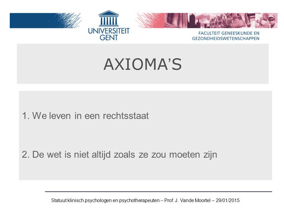 AXIOMA'S 1. We leven in een rechtsstaat