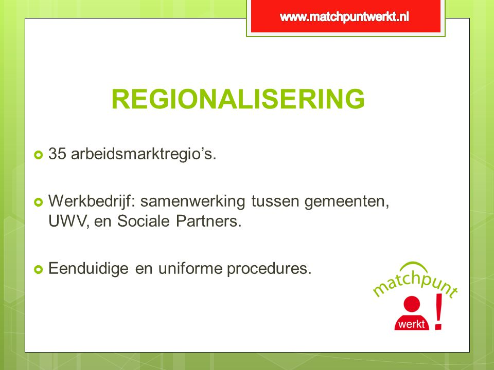 REGIONALISERING 35 arbeidsmarktregio's.