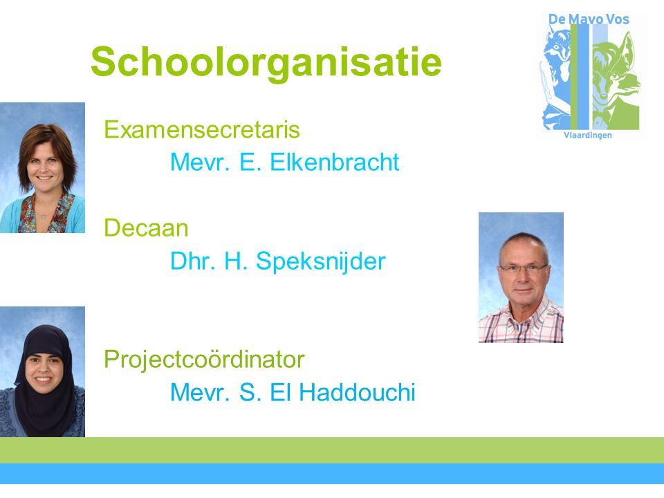 Schoolorganisatie Examensecretaris Mevr. E. Elkenbracht Decaan