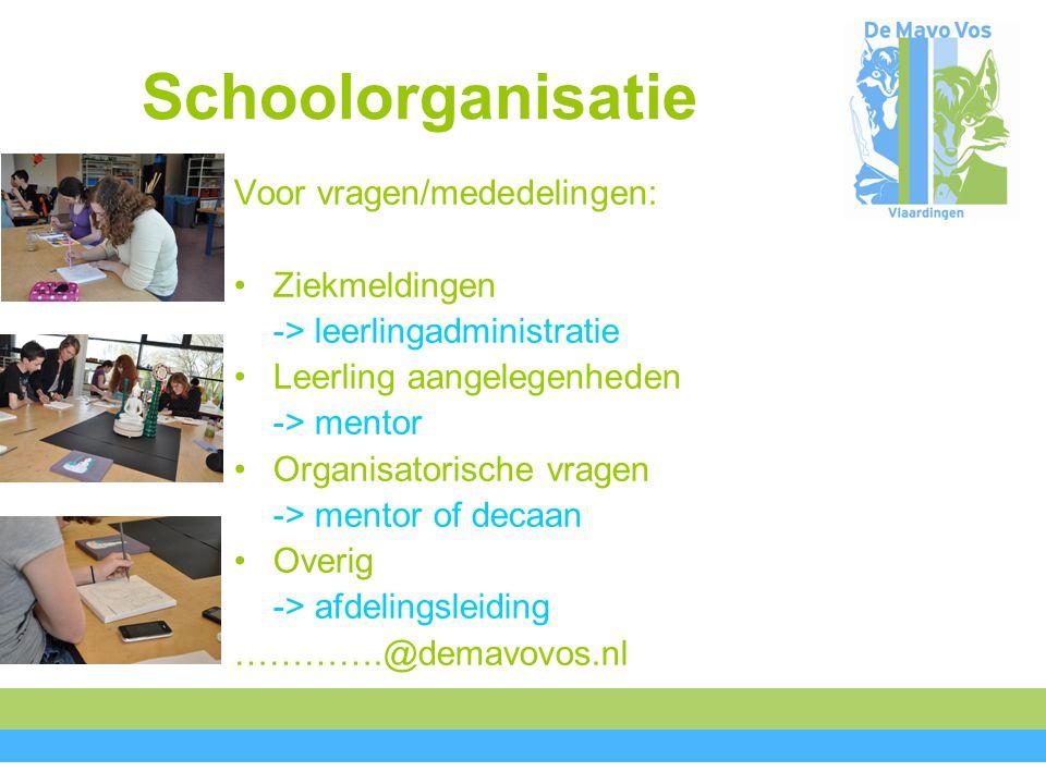 Schoolorganisatie Voor vragen/mededelingen: Ziekmeldingen