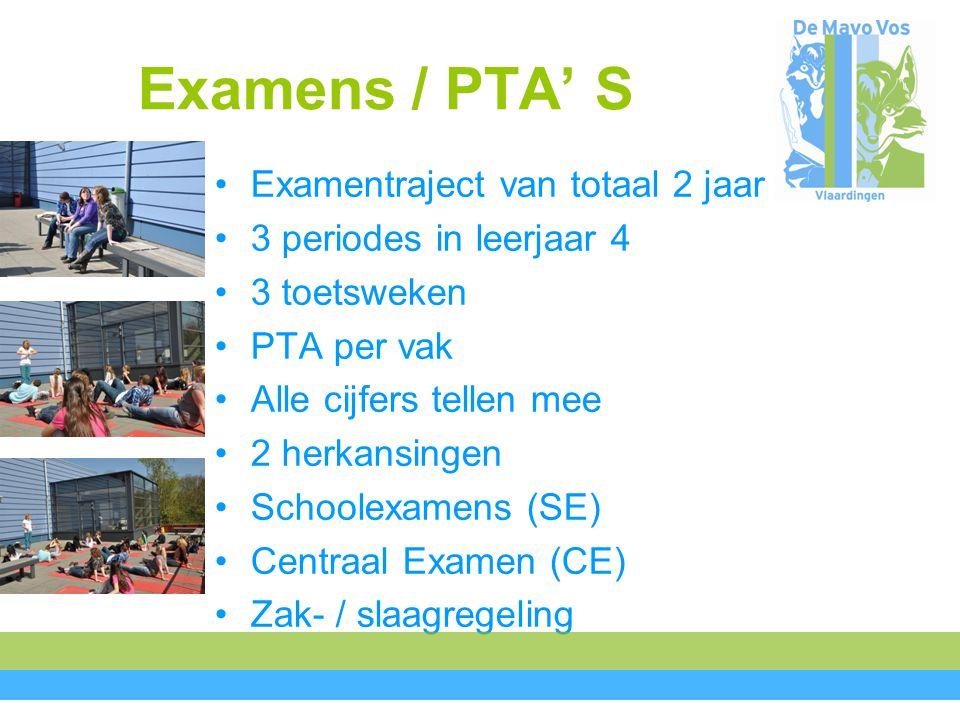 Examens / PTA' S Examentraject van totaal 2 jaar