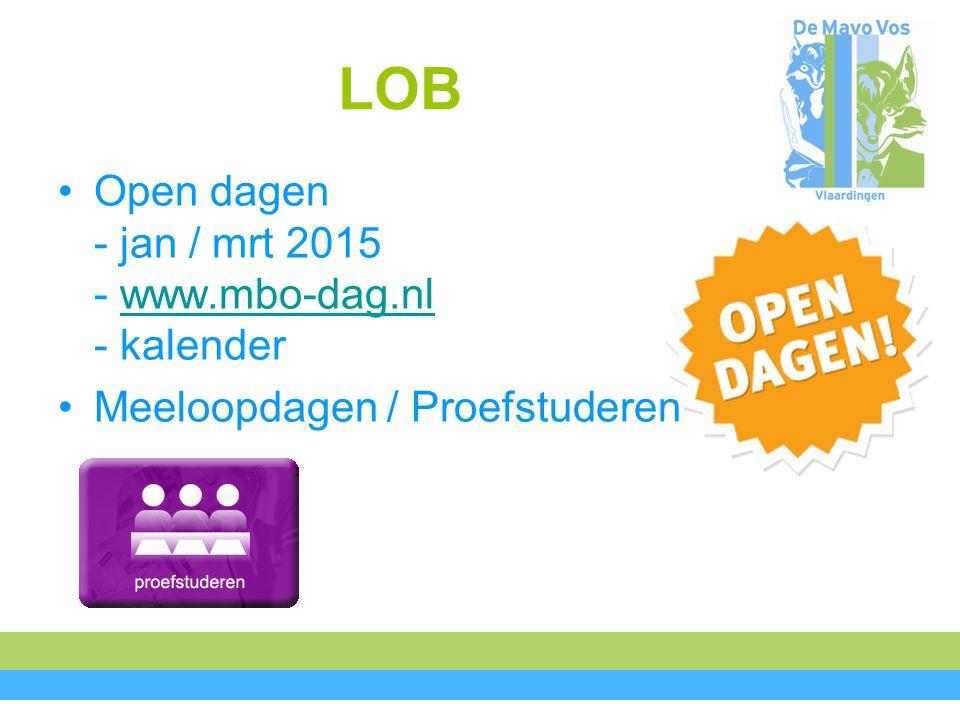 LOB Open dagen - jan / mrt 2015 - www.mbo-dag.nl - kalender