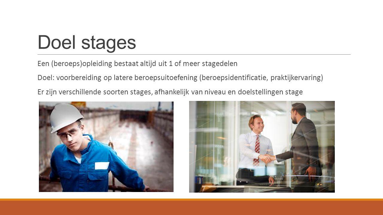 Doel stages Een (beroeps)opleiding bestaat altijd uit 1 of meer stagedelen.