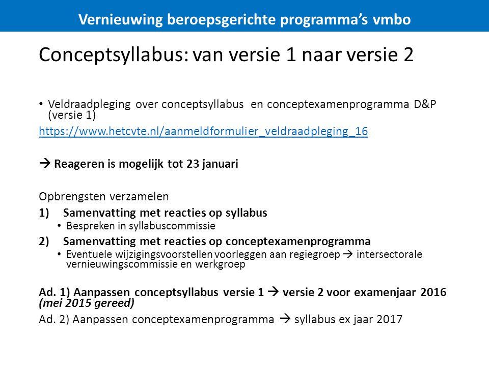 Conceptsyllabus: van versie 1 naar versie 2