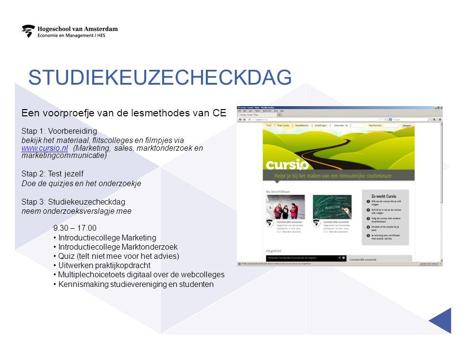 studiekeuzecheckdag Een voorproefje van de lesmethodes van CE