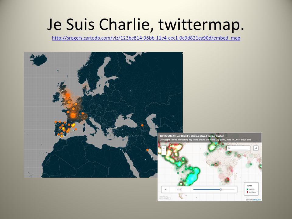 Je Suis Charlie, twittermap. http://srogers. cartodb