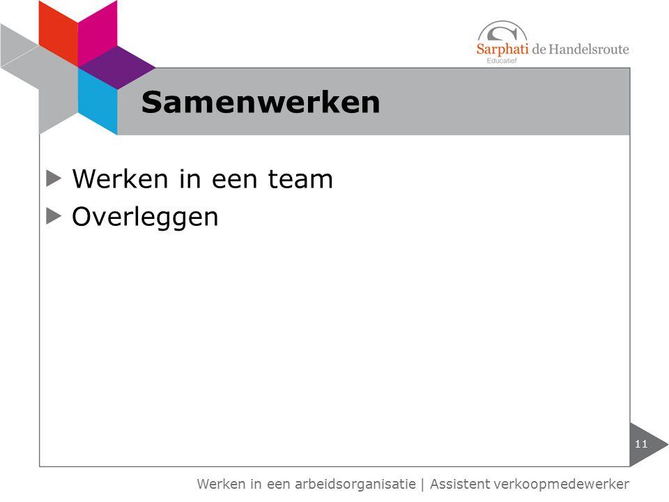Samenwerken Werken in een team Overleggen