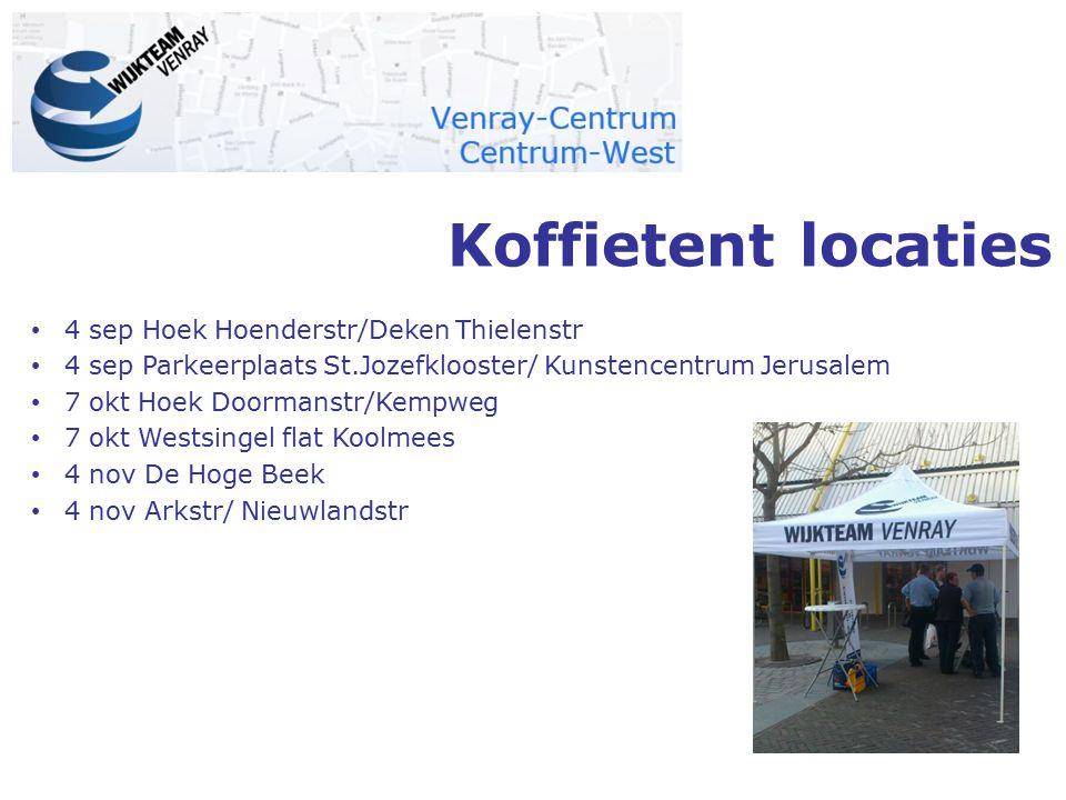 Koffietent locaties 4 sep Hoek Hoenderstr/Deken Thielenstr