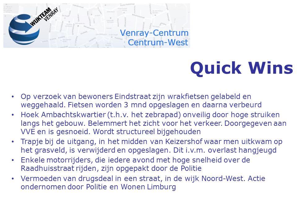 Quick Wins Op verzoek van bewoners Eindstraat zijn wrakfietsen gelabeld en weggehaald. Fietsen worden 3 mnd opgeslagen en daarna verbeurd.