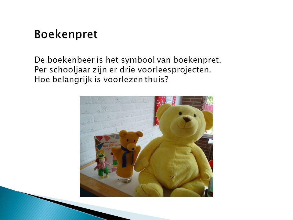 Boekenpret De boekenbeer is het symbool van boekenpret. Per schooljaar zijn er drie voorleesprojecten.
