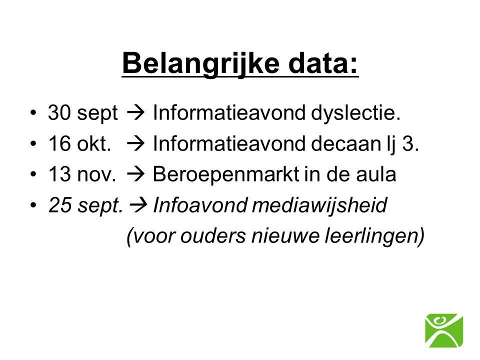 Belangrijke data: 30 sept  Informatieavond dyslectie.