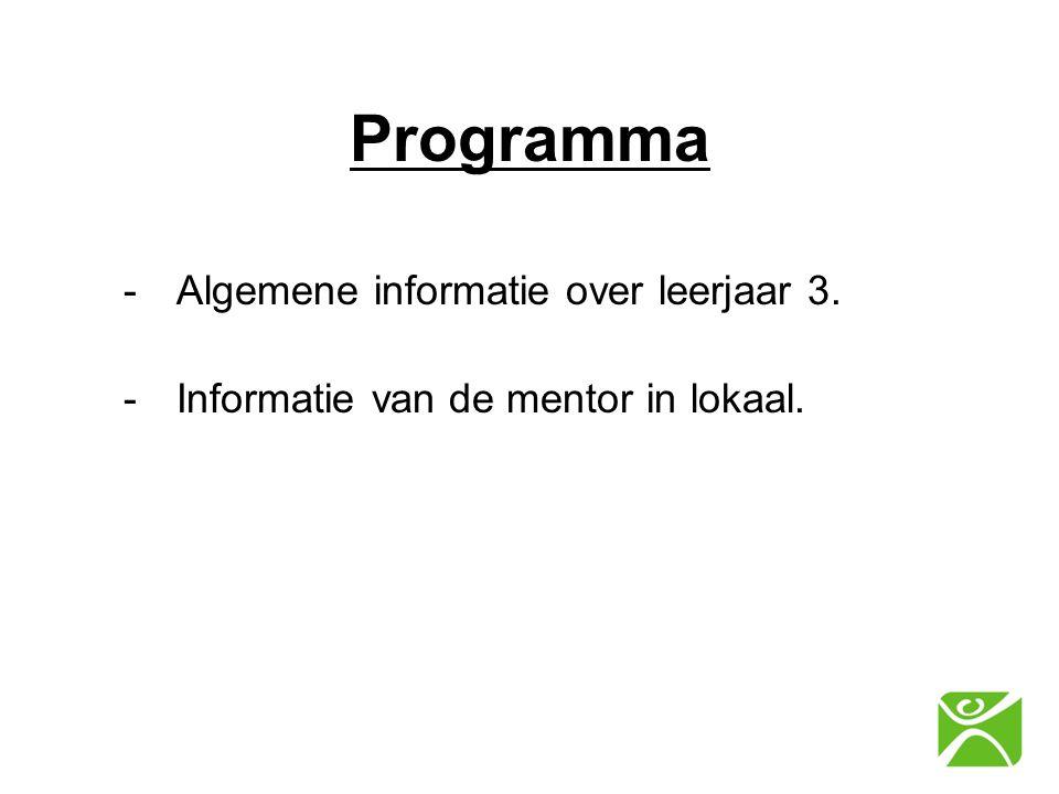 Programma Algemene informatie over leerjaar 3.