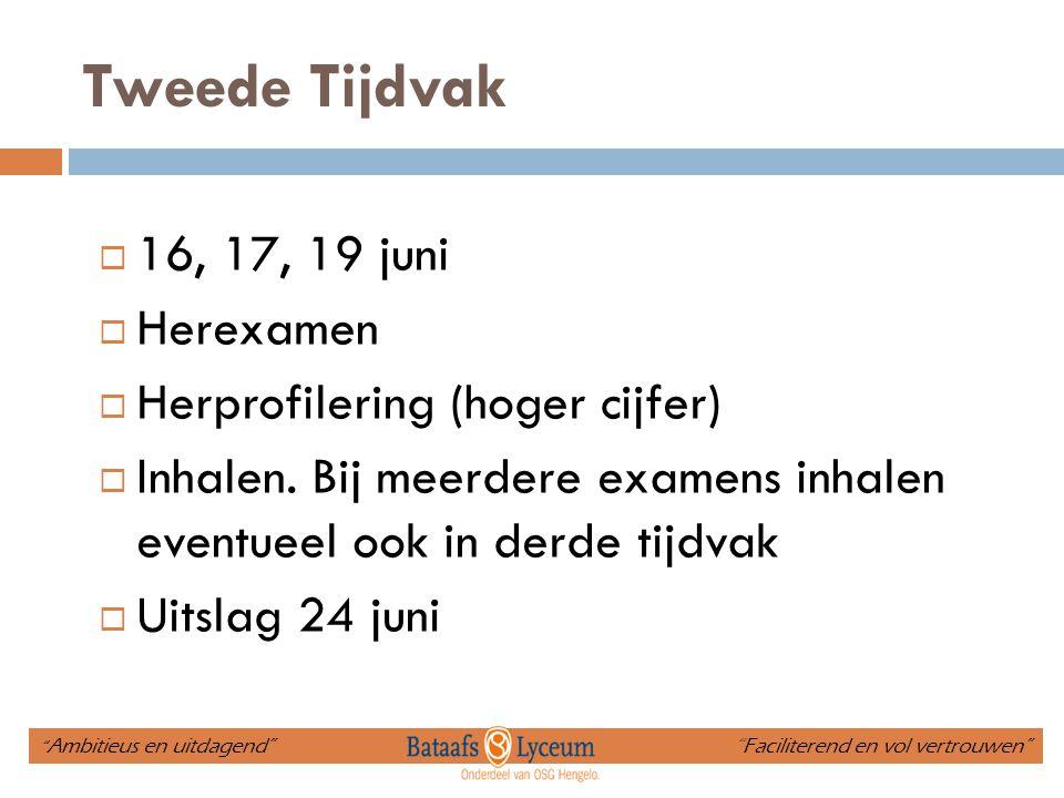 Tweede Tijdvak 16, 17, 19 juni Herexamen Herprofilering (hoger cijfer)