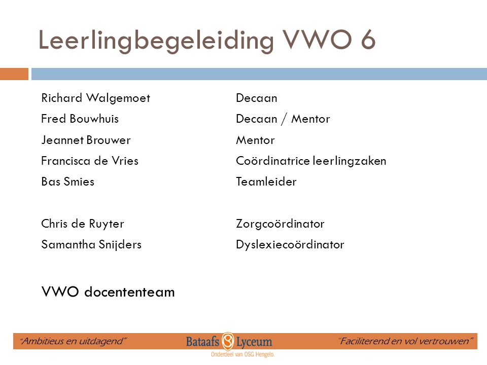 Leerlingbegeleiding VWO 6