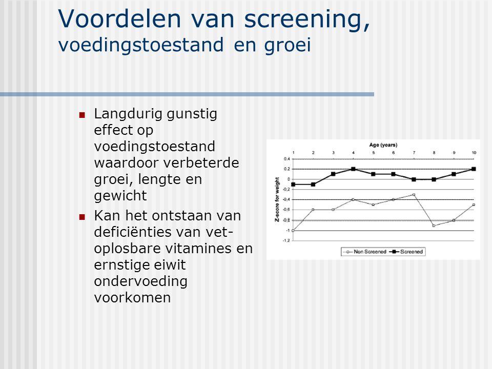Voordelen van screening, voedingstoestand en groei