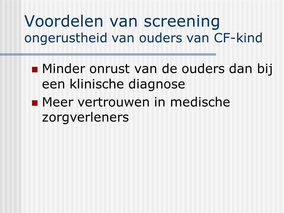 Voordelen van screening ongerustheid van ouders van CF-kind