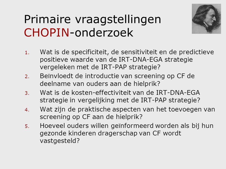 Primaire vraagstellingen CHOPIN-onderzoek