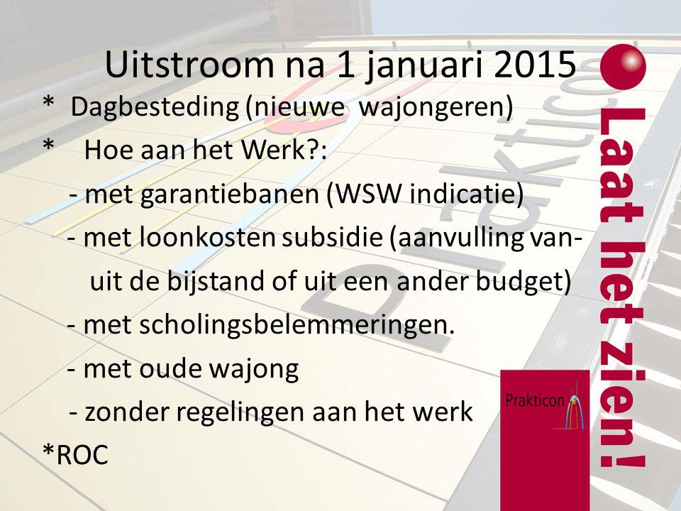 Uitstroom na 1 januari 2015 * Dagbesteding (nieuwe wajongeren)