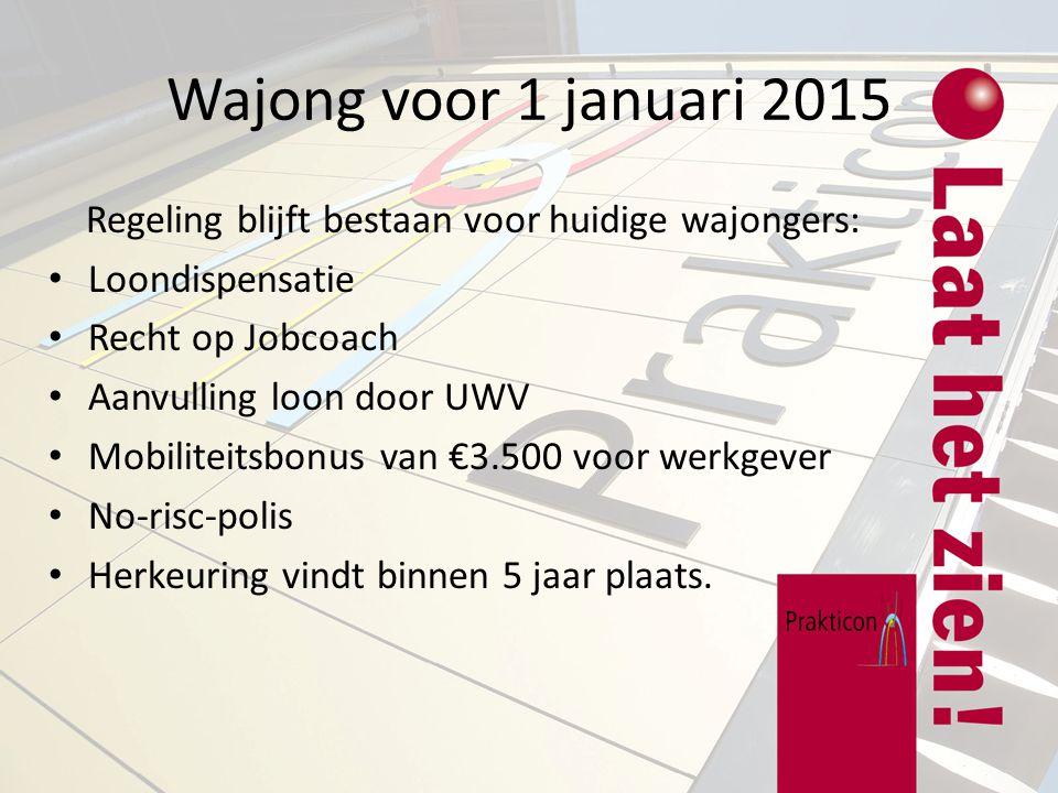 Wajong voor 1 januari 2015 Regeling blijft bestaan voor huidige wajongers: Loondispensatie. Recht op Jobcoach.