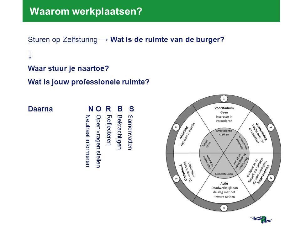 Waarom werkplaatsen Sturen op Zelfsturing → Wat is de ruimte van de burger ↓ Waar stuur je naartoe