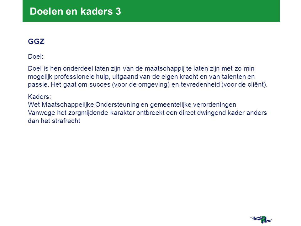 Doelen en kaders 3 GGZ Doel:
