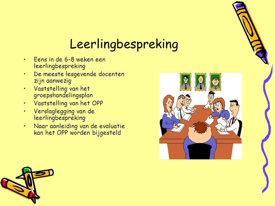 Leerlingbespreking Eens in de 6-8 weken een leerlingbespreking