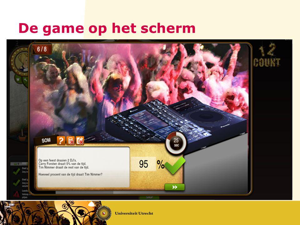 De game op het scherm
